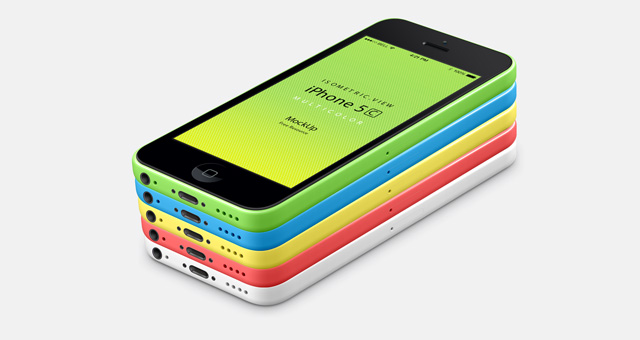 001-iphone-5C-mobile-celular-multicolors-isometric-view-3d-mock-up-psd